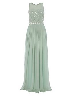 Mint with Silver Embellished Maxi Dress