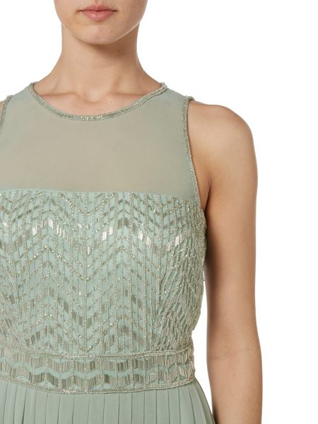 RAISHMA Mint with Silver Embellished Maxi Dress