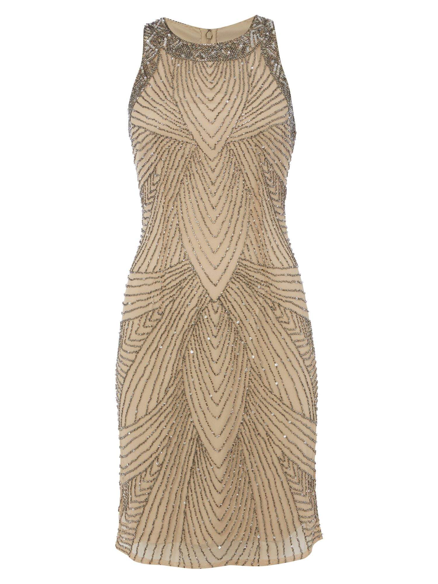 RAISHMA Nude with Mercury Embroidery Dress, Nude