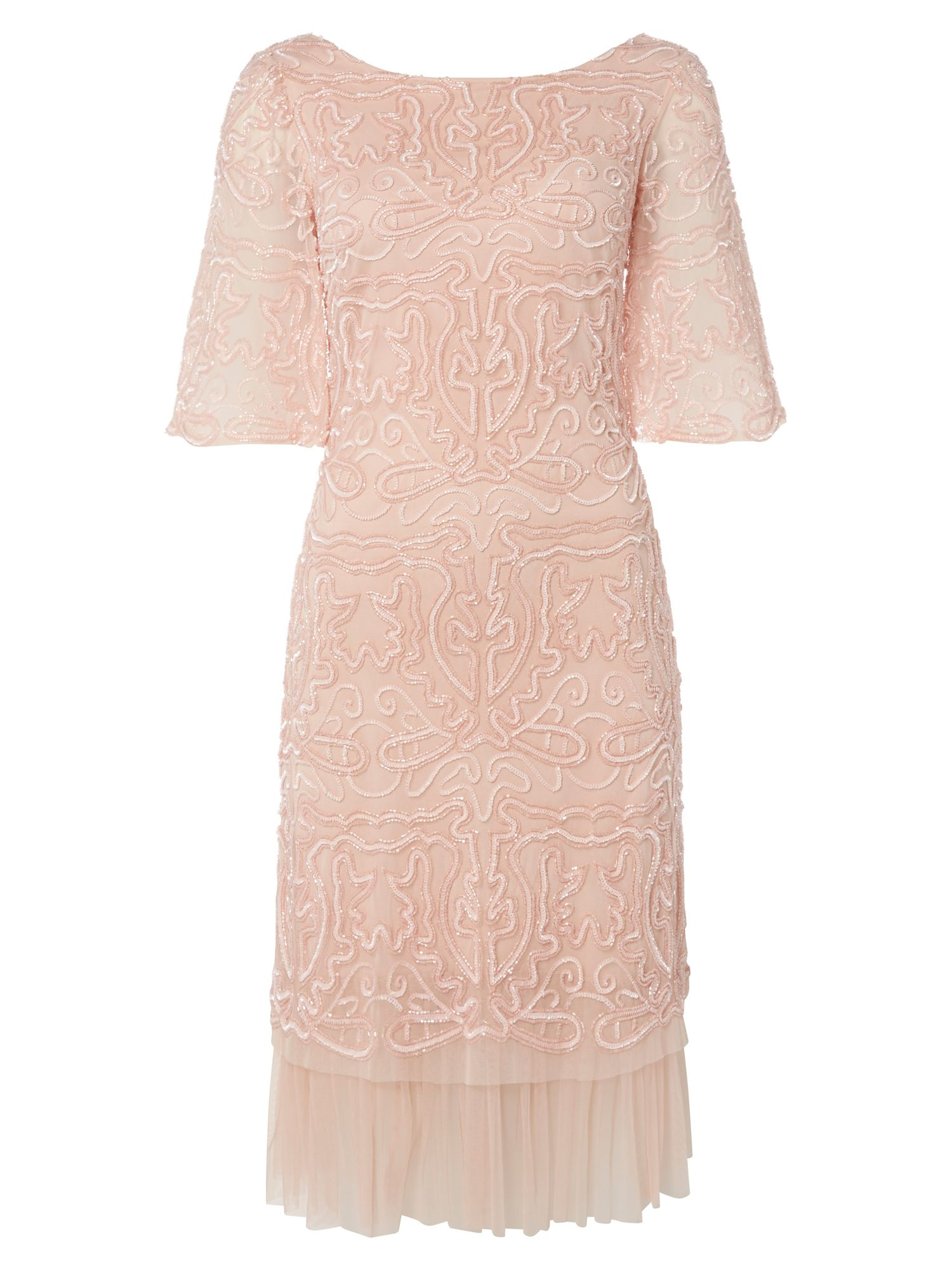 RAISHMA Bell Sleeve Embroidered Dress, Pink