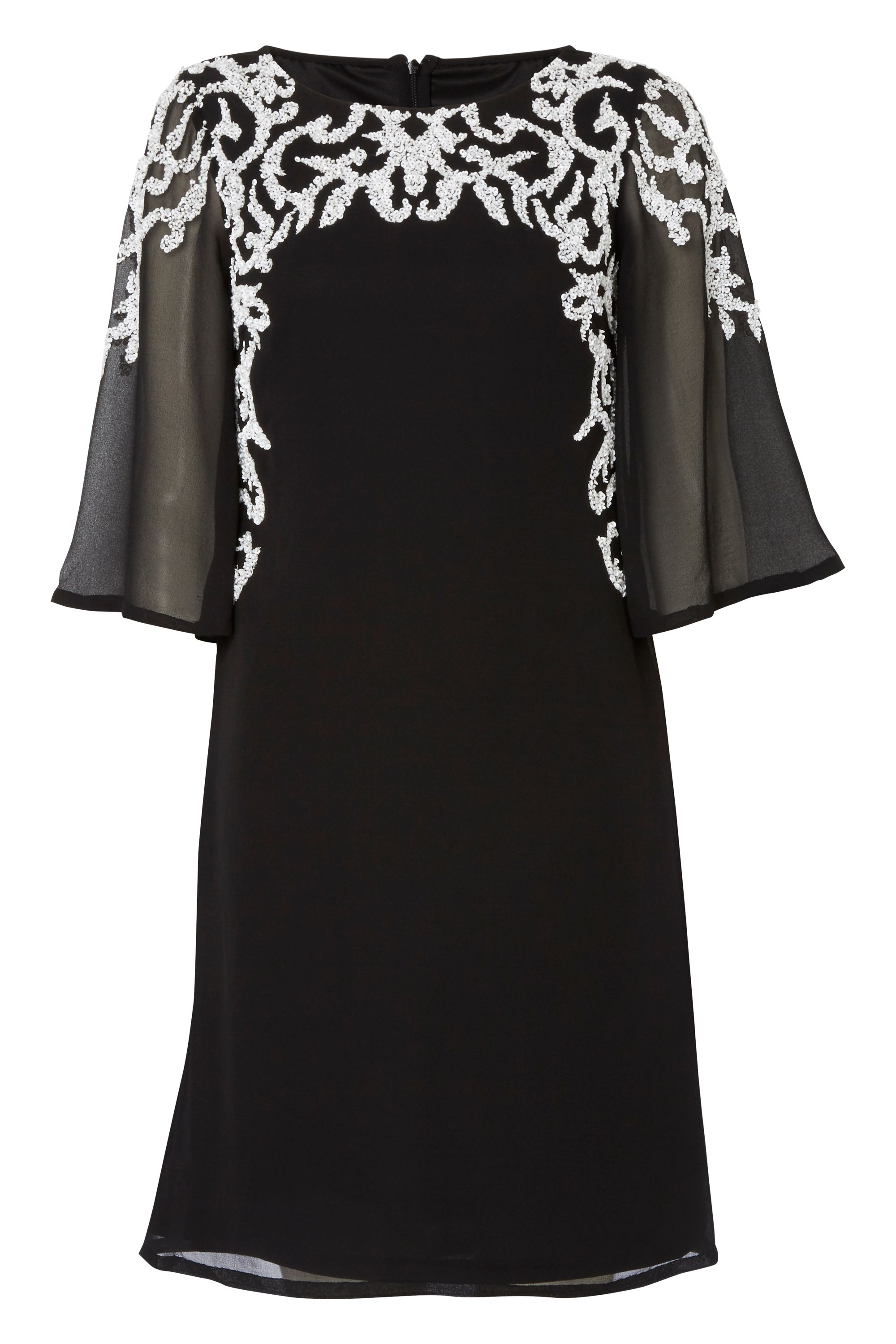 RAISHMA Wide Sleeve Dress With White Beading, Black