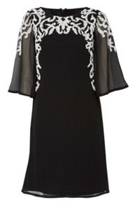 RAISHMA Wide Sleeve Dress With White Beading