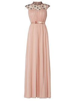 High Neck Flower Pleated Gown