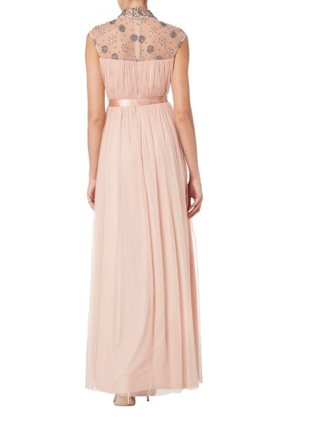 RAISHMA High Neck Flower Pleated Gown