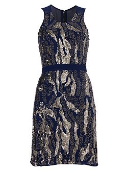 Navy Dress with Metallic Embroidery