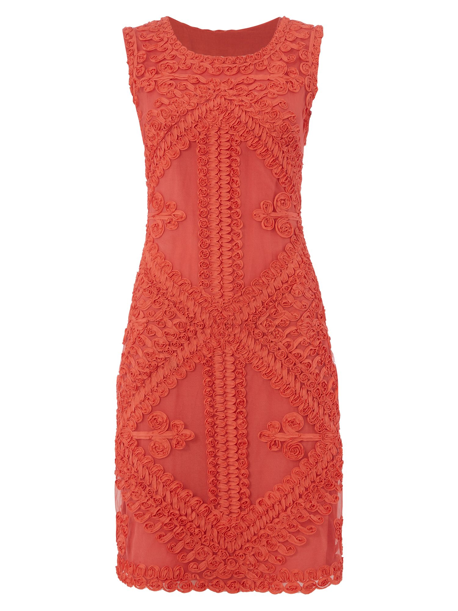 RAISHMA Coral Geometric Tapework Dress, Coral