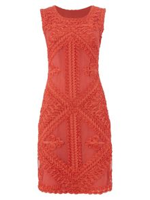 RAISHMA Coral Geometric Tapework Dress