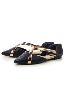 Lost Ink Beau  cross strap ballerinas