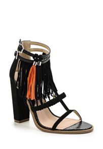 Lost Ink Raise  tassle trim heel sandals