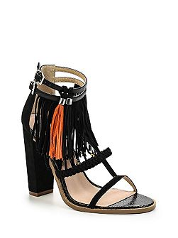 Raise tassle trim heel sandals