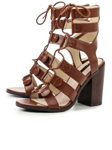 Lost Ink Roman ghillie heeled sandals