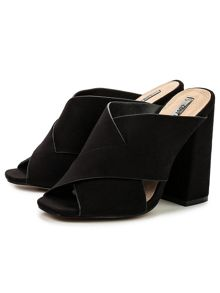 Lost Ink Rita flared heel mules