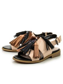 Lost Ink Nooky tassle flat sandals