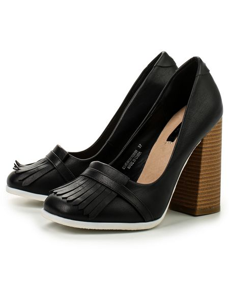 Lost Ink Charis heel fringed loafers