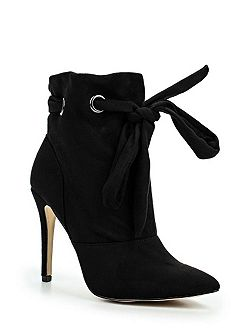 Arissa laser cut metal heel ankle boots