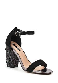 Lost Ink Darima floral block heel sandals