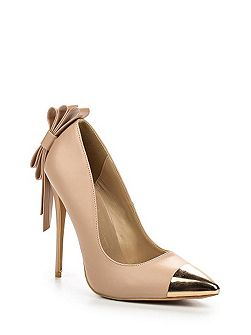 Deon bow back toe cap court shoes