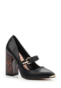 Lost Ink Daphne flared block heel buckle shoes