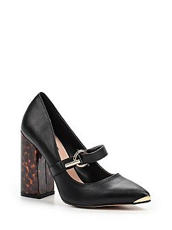 Daphne flared block heel buckle shoes