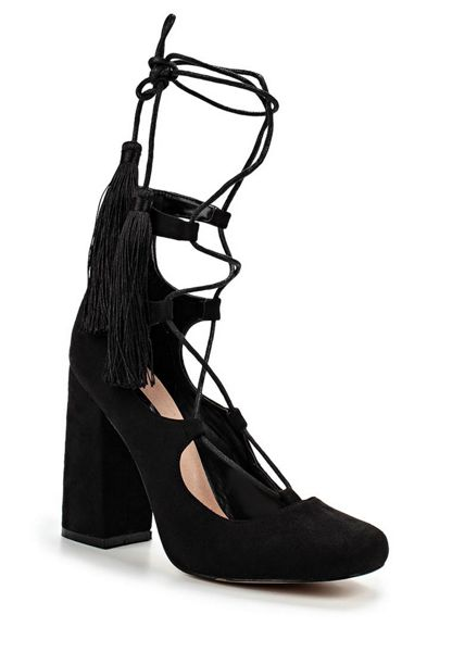 Lost Ink Drey ghillie lace block heeled shoes