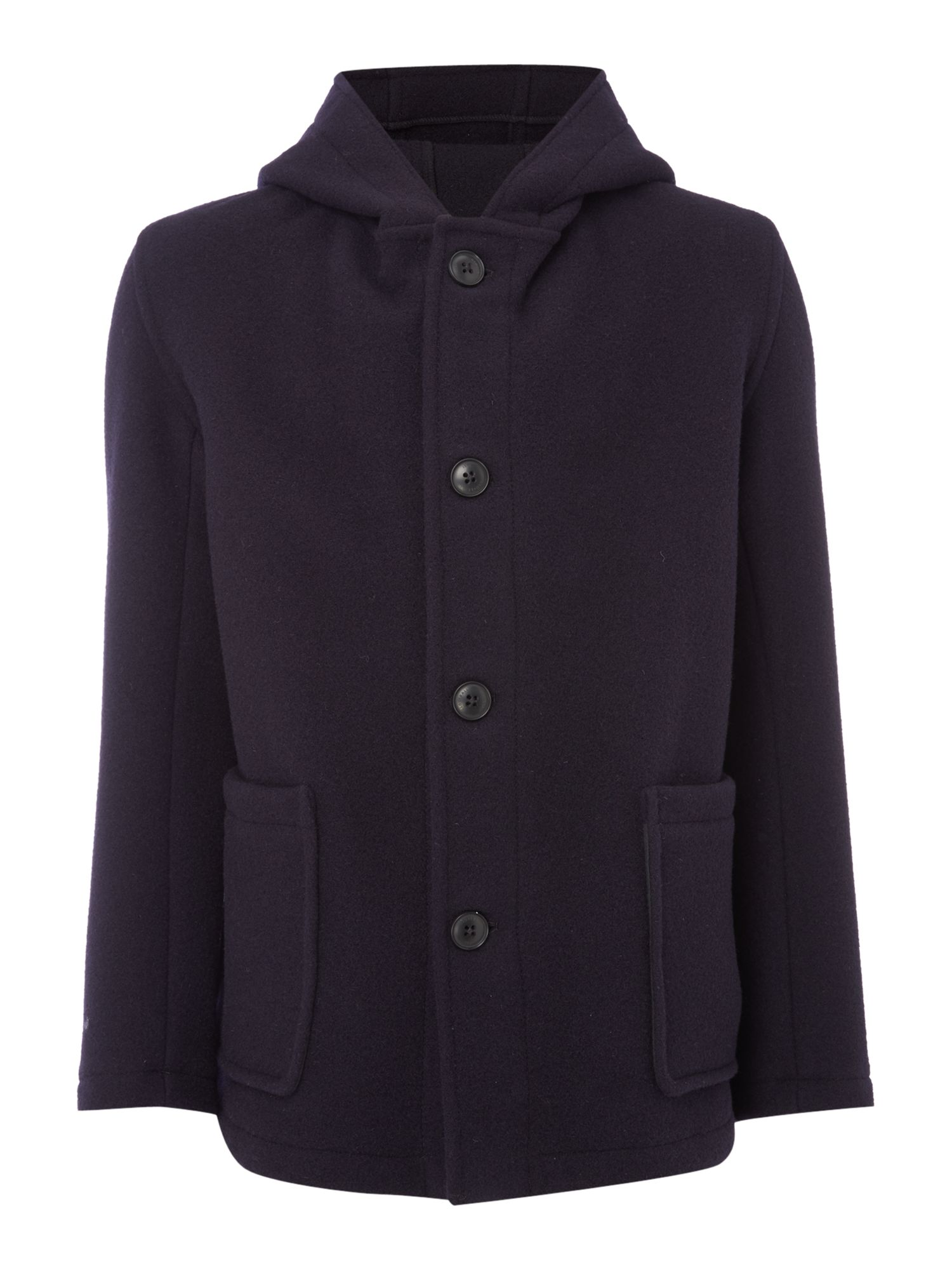 Mens Gloverall Wool Smock Duffle Coat Navy