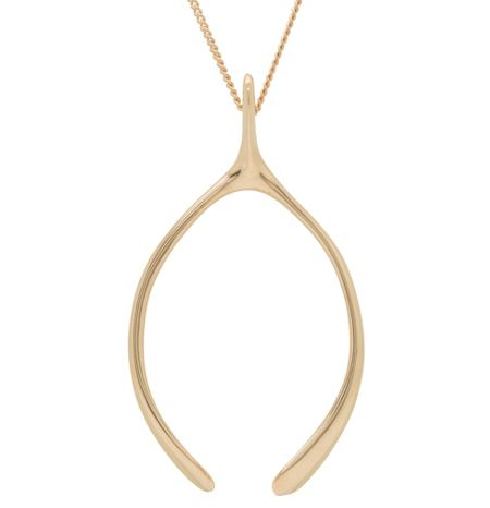 Katie Mullally Large rose gold wishbone charm and chain