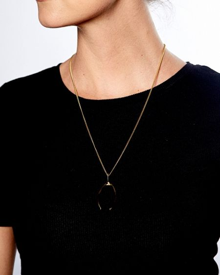 Katie Mullally Gold plated medium wishbone and chain