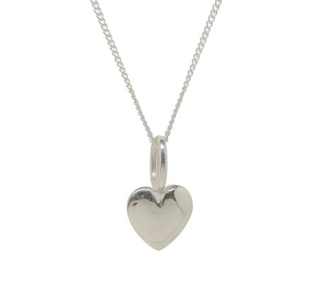 Katie Mullally Silver beaten heart charm and chain