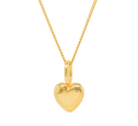 Katie Mullally Gold plated beaten heart charm and chain
