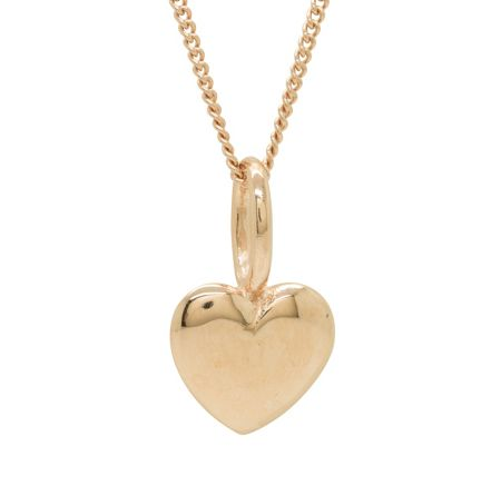 Katie Mullally Rose gold plated beaten heart and chain