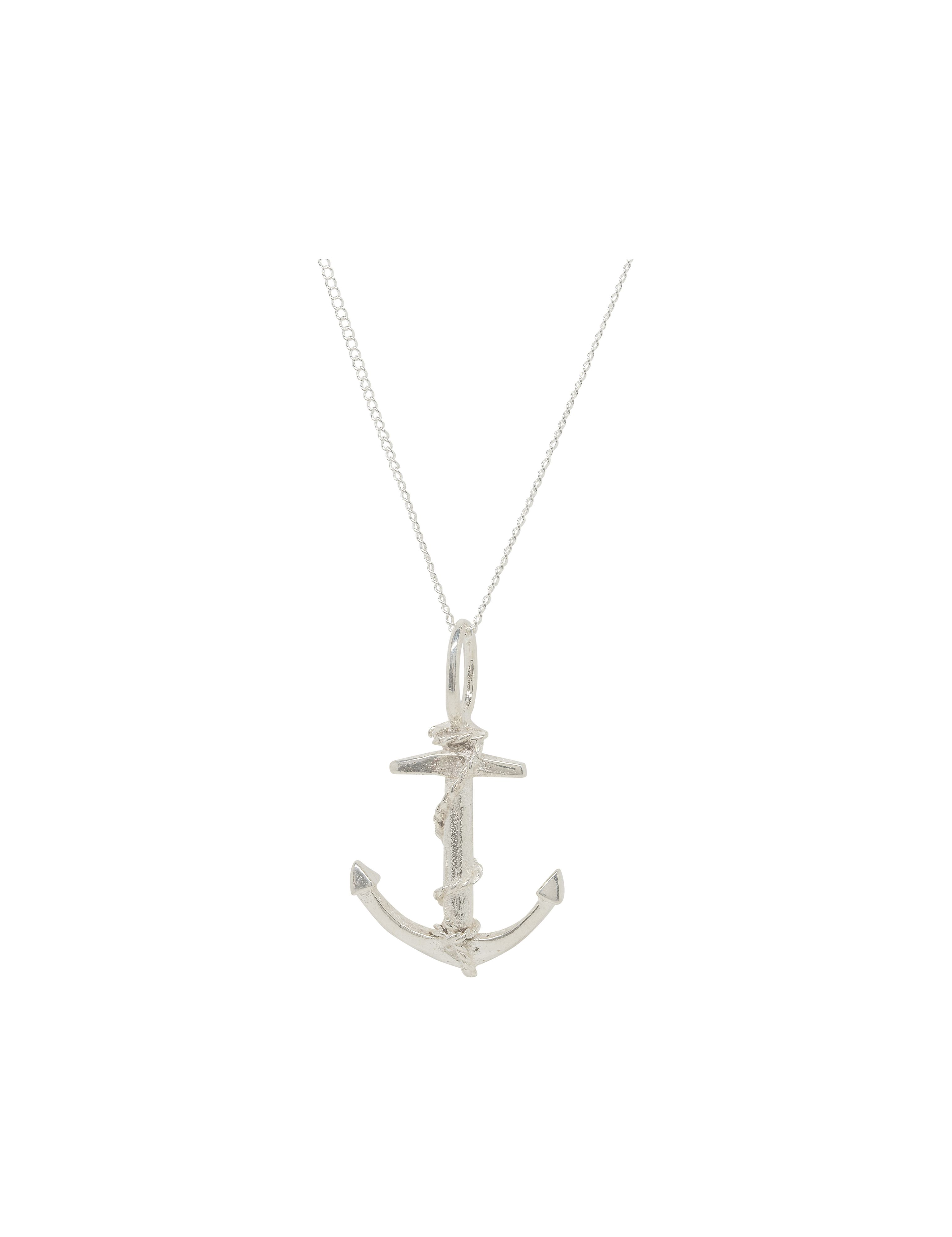 Katie Mullally Silver anchor charm and chain Metallic