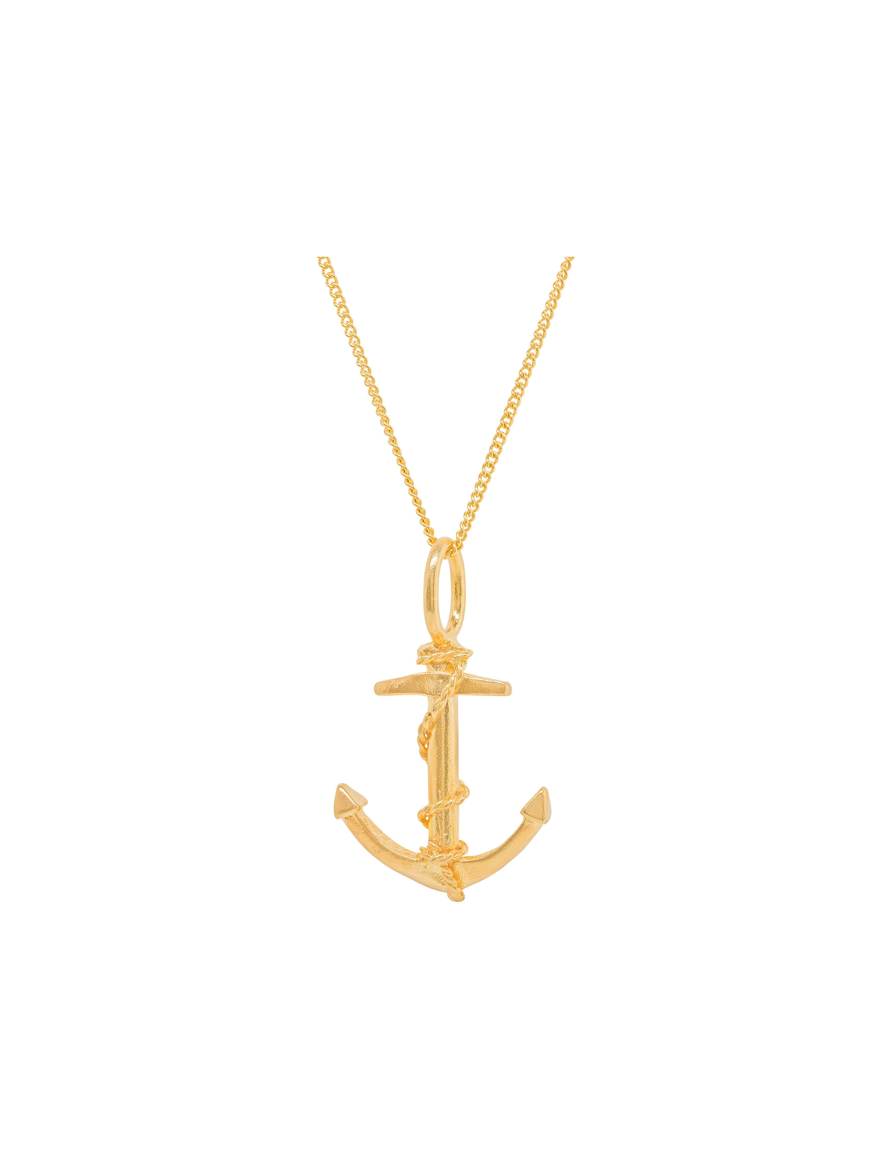 Katie Mullally Gold plated anchor charm and chain Metallic