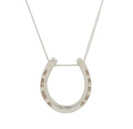 Katie Mullally Silver large horseshoe charm and chain