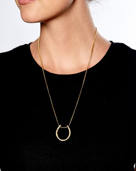 Katie Mullally Gold plated large horseshoe and chain