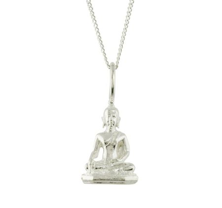 Katie Mullally Silver buddha charm and chain