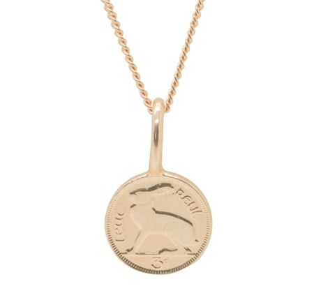 Katie Mullally Rose gold 3p irish coin and chain
