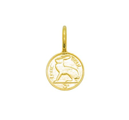 Katie Mullally Gold plated 3p irish coin charm