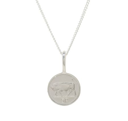 Katie Mullally Silver 5p irish coin charm and chain