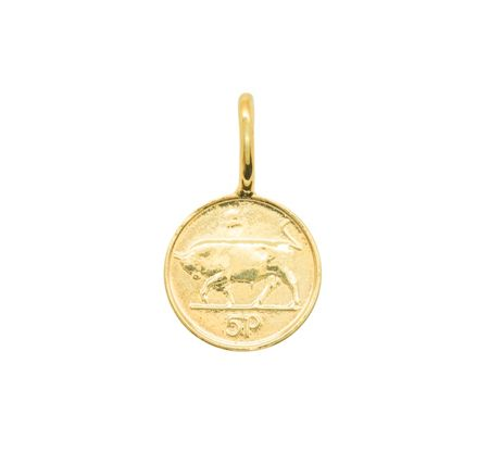 Katie Mullally Gold plated 5p irish coin charm