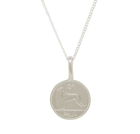 Katie Mullally Silver 6p irish coin charm and chain
