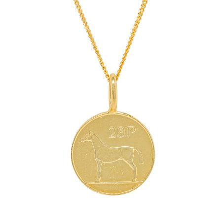 Katie Mullally Gold plated 20p irish coin charm + chain