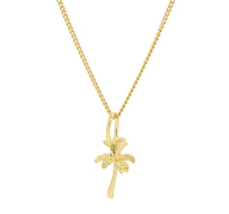 Katie Mullally Gold plated palm tree charm and chain