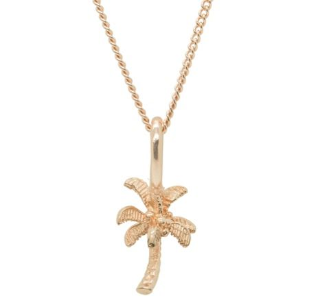 Katie Mullally Rose gold palm tree charm and chain