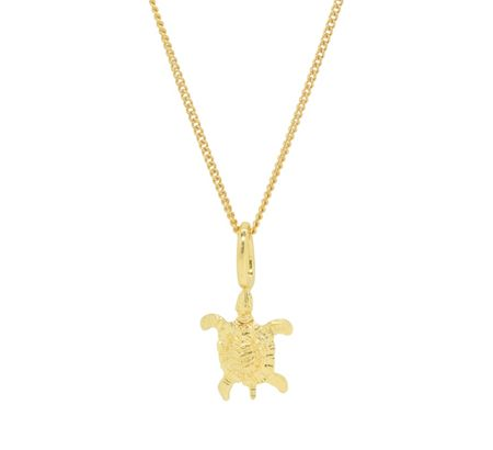 Katie Mullally Gold plated turtle 18 charm and chain