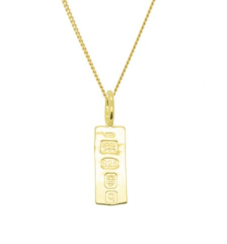 Katie Mullally Gold plated med hallmarking bar + chain