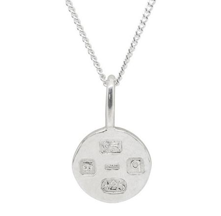 Katie Mullally Silver small hallmark circle and chain