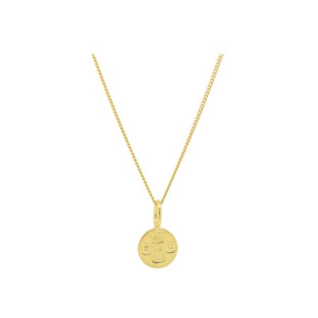 Katie Mullally Gold plated sml hallmark circle + chain