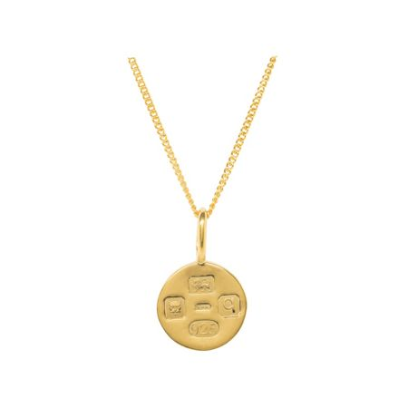 Katie Mullally Gold plated med hallmark circle + chain