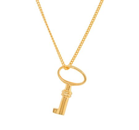 Katie Mullally Gold plated baby key charm and chain