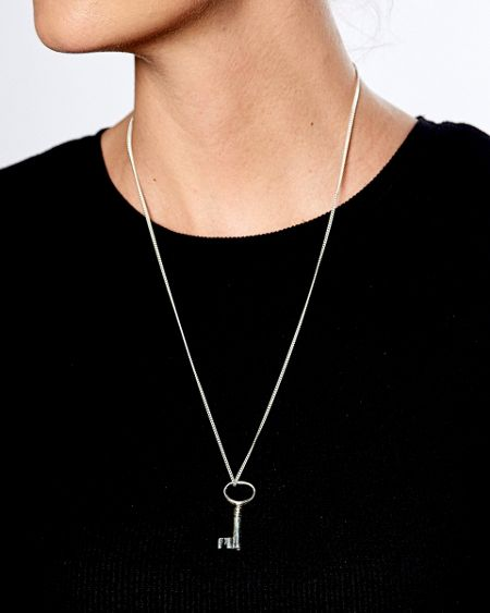 Katie Mullally Silver large key charm and chain